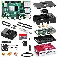 Bqeel Raspberry Pi 4 Modèle B, 4Go RAM+32 Go Classe 10 Micro SD Carte, 5V 3A Alimentation Interrupteur Marche/Arrêt, Ventilateur, Dissipateur, Boîtier Noir, Lecteur de Carte, Câble HDMI …