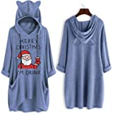 callmin Ladies Christmas Pocket Dress, Fashion Design Printed Cat Ear Hooded Long Sleeve Tops Dress