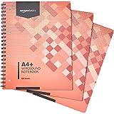 Amazon Basics Lot de 3cahiers à spirales 200pages 80g/m² Format A4+