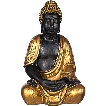 Buddha SWK 33013-A Antik Gold , für Innen und Außen, Buddha Figur 53 cm hoch , Buddha Statue groß, Büste, Gartendekoration, Wetterfest (nicht frostsicher) aus Kunststein (Polyresin) sehr aufwendig per Hand bemalt, sehr feine Strukturen