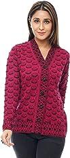 Perroni Women's Cardigan/Sweater for Winter (Large, Magenta)