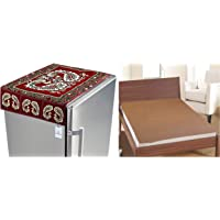 Kuber Industries Red Cotton Fridge Top Cover (Peacock Design) (Fc09) & PVC Waterproof King Size Mattress Protector 78…