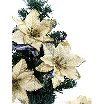 bei wang 6 pcs 13cm christmas tree decorative silk flower gold poinsettia bush and red poinsettia
