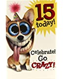 Age 15 Birthday Card - Ideal Gift Card for Kids - Boys Birthday Card - Girls Birthday Card - Birthday Card for 15 Year Old - Teenage Boy Gifts - Teenage Girl Gifts - Funny Dog Card