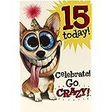 Hanson 347859-0-1 - Tarjeta de felicitación de 15º cumpleaños para perro, color blanco