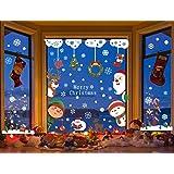Voqeen Cute Kawaii Christmas Window Stickers Static PVC Door Covers Elk Elf Snowflake Xmas Tree Xmas Window Clings Home Shop