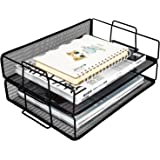 EasyPAG 2 Tier A4 Mesh in Trays Stackable Office Desk Tidy File Holder Magazine Storage Paper Organiser,Black