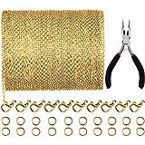 قلادة من جوفيتك بطول 39.4 قدم 2 مم على شكل سلسلة مربوطة مجوهرات مع 30 قطعة من مشابك جراد البحر و100 قطعة من حلقات القفز لملحق