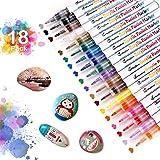 MayBeau akrylpennor markeringspennor, 18 färger vattentåliga akrylfärger markörer, permanenta markeringspennor för stenpinnar