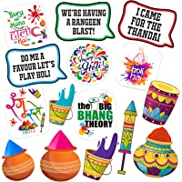 Party Propz Holi Theme Party Photo Booth Props (15 Pieces) for Holi Decoration Items for Party