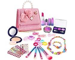 balnore Trucchi Bambina Set, 27 Pezzi Set di Cosmetici per Bambini, Bellezza Cosmetici Gioielli Make Up Giocattoli Principess