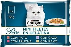 Gourmet Purina Perle Finas Láminas en Gelatina Pack Surtido sobres 4 x 85 g - 340 g, Negro