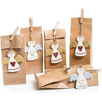 5 Stück Kleine Geschenk Verpackung Engel Rot Gold Silber Weiß 5 Papiertüten Bodenbeutel Braun Natur Geschenke Verpacken Weihnachten Geburtstag