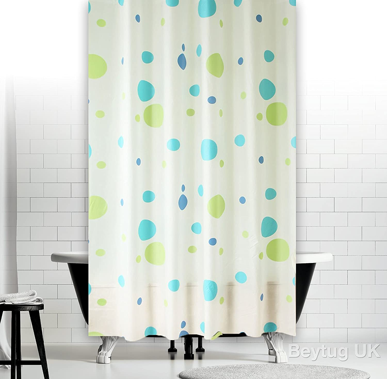 New Funky Bathroom Shower Curtain Extra Long with Rings 180 x 200 ...