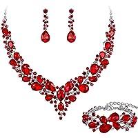 Clearine Set di gioielli da sposa con cristalli austriaci teardrop Cluster Statement collana orecchini e bracciale da…