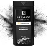 Aramusk Charcoal Shower Gel for Men, Face & Body Wash, With Activated Charcoal, Germ Protection & Deep Cleansing, 250ml