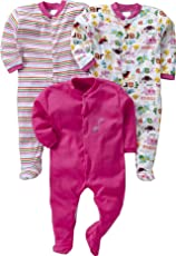 Gopuja New Born Baby Multi-Color Long Sleeve Cotton Sleep Suit Romper for Boys and Girls Set of 3 (Pink, 3-6 Months)