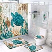 Sea Turtle Shower Curtain Sets with Non-Slip Rugs, Toilet Lid Cover and Bath Mat, Nautical Ocean Shower Curtains with 12 Hoo