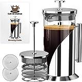 Cafe Du Chateau 34 oz fransk press kaffebryggare, 4 nivåer filtreringssystem, 304 klassat rostfritt stål, värmebeständigt bor
