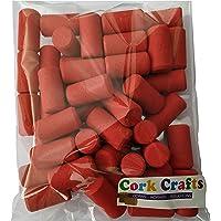 Cork Crafts 50 Bouchons à vin colorés 23 mm x 44 mm - liège Naturel pour Artisanat - décoratifs et créatifs (Rouge)