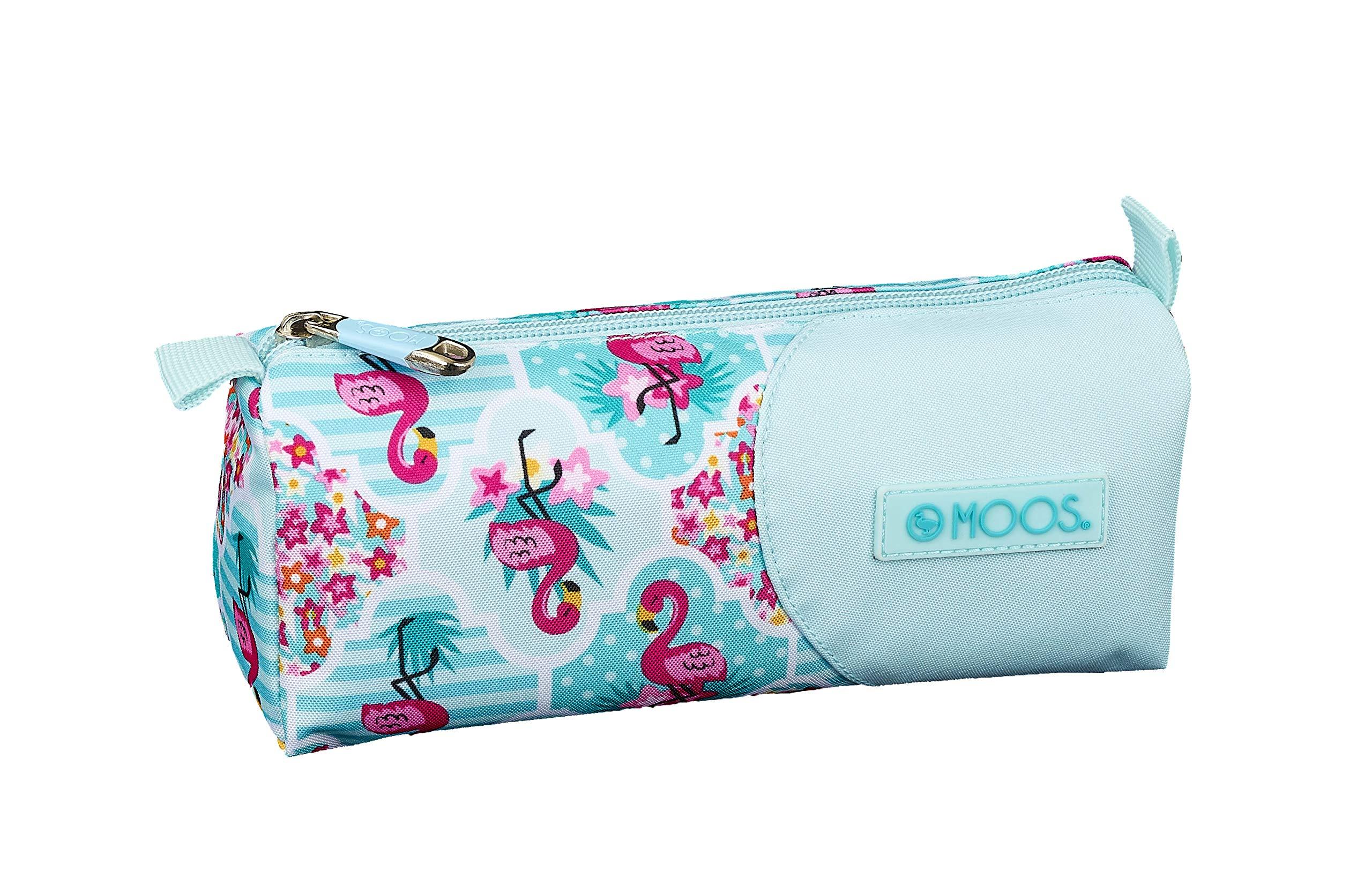 Moos  Flamingo Turquoise Oficial Estuche Escolar 210x70x80mm