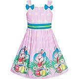 Sunny Fashion Vestido para niña Azul Mariquita Rosa Dot Niños Ropa 2-8 años