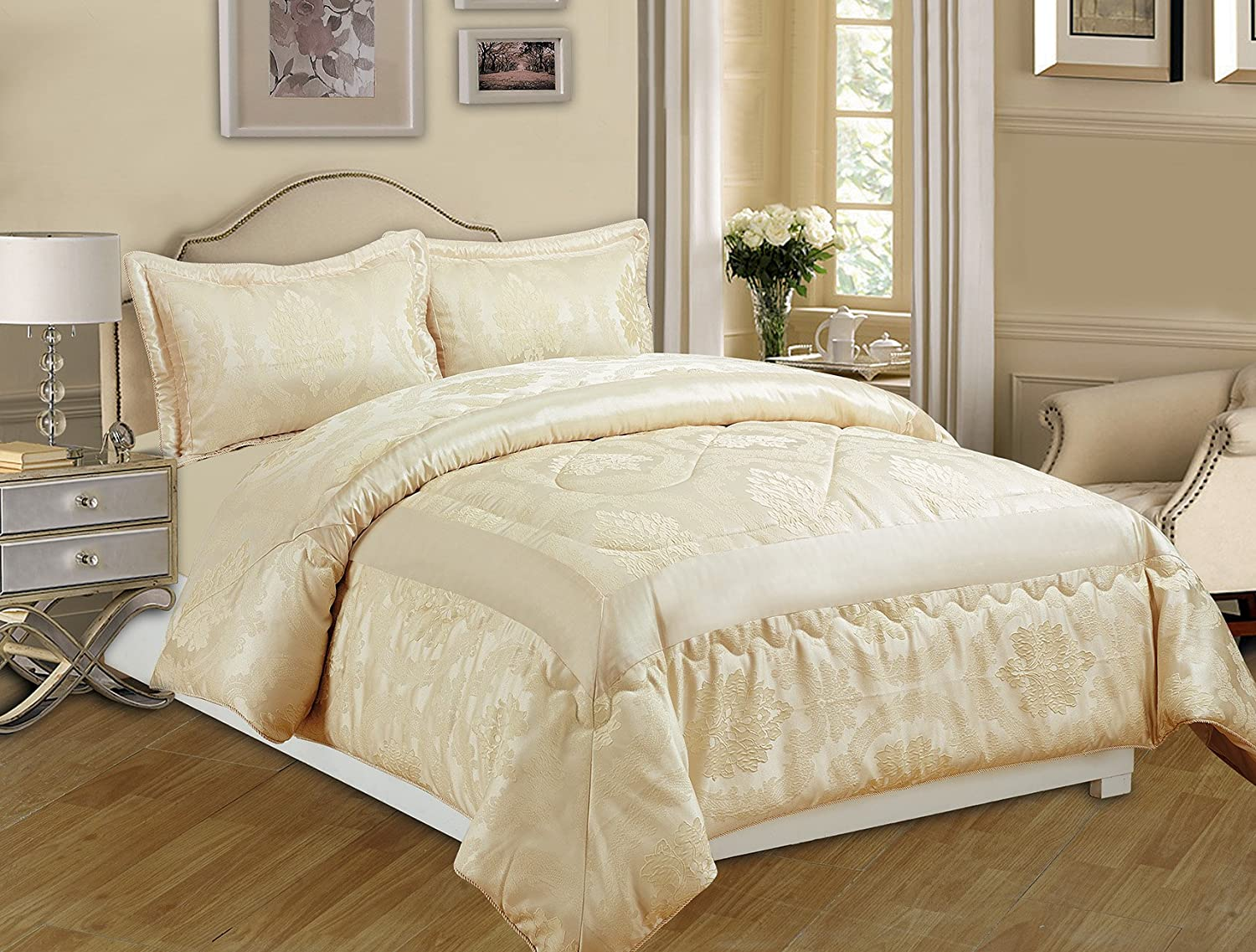 3 Piece Jacquard Quilted Bedspread Comforter, Pillow Shams,Luxury ... : how to make bedspread quilt - Adamdwight.com