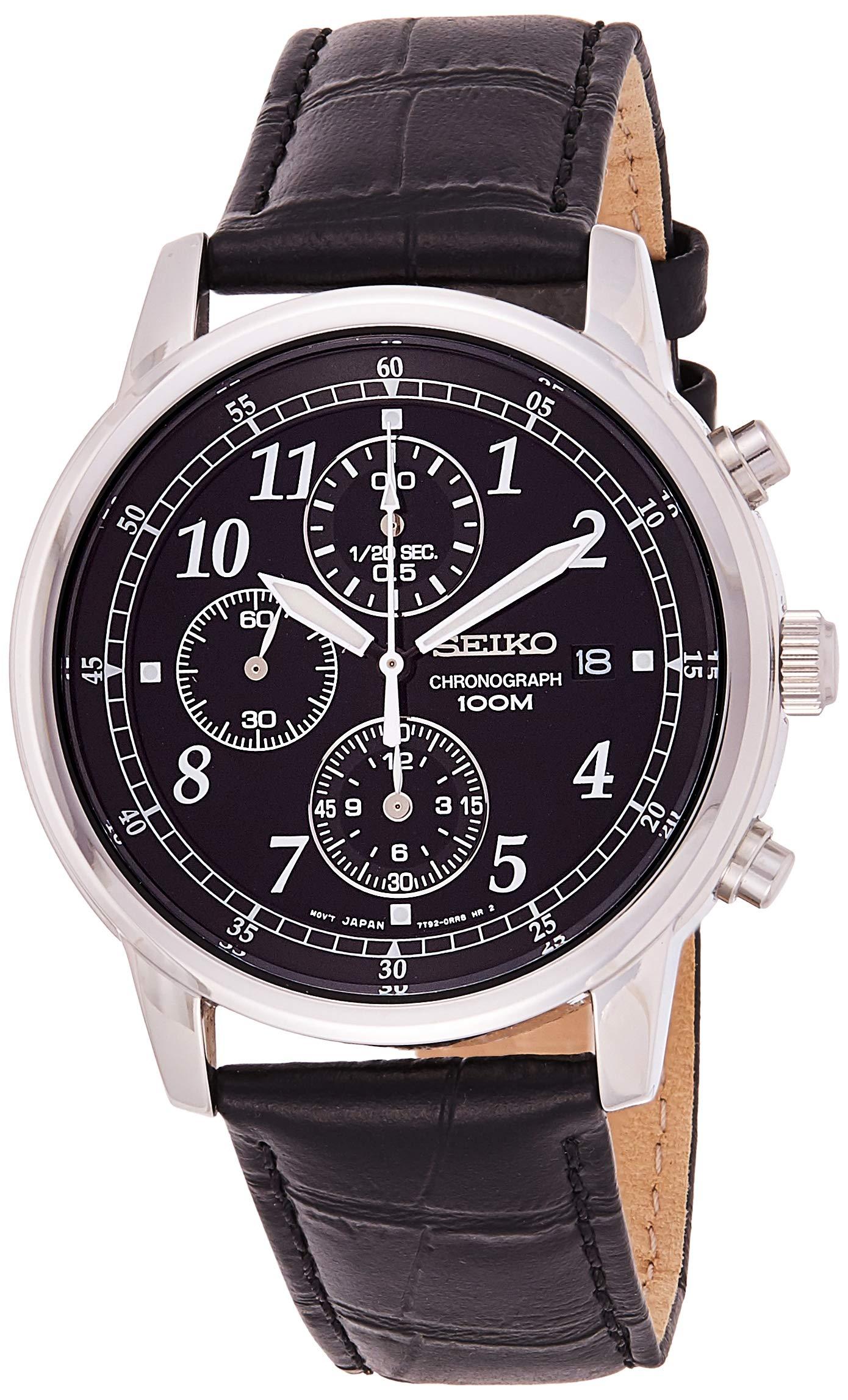 Seiko Men's Chronograph Quartz Watch with Leather Strap – SNDC33P1