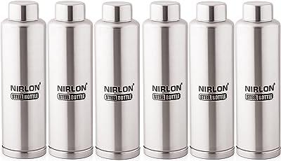 Nirlon Stainless Steel Water Bottle Set, 6-Pieces, Silver (6pc_F_Bottle_1000ML)