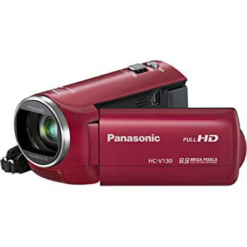 Panasonic HC-V130EB-R Full HD Camcorder - Red (8.9MP, 75x Intelligent Zoom) 2.7 inch LCD (New for 2014)