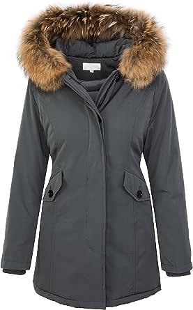 Rock Creek Selection Damen Echtfell Winter Jacke Parka Kapuze Designer Damenjacke Outdoor D-204 XS-XL