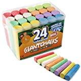 Kids B Crafty 24 Giant Bright Coloured Chalks Chunky Pavement Washable Fun For Children 8 Super Vibrant Colours…