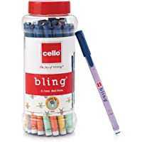 Cello Bling Pastel Ball Pens (25 Pens Jar - Blue) | Ballpen set with different body foils in exciting pastel shades…