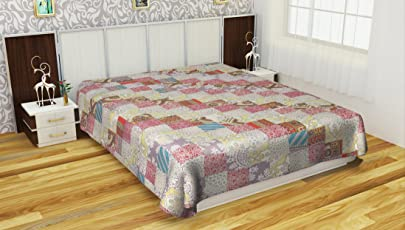 Saryu Homes Cotton Patchwork Double Bedcover - Floral, Brown and Beige