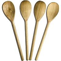 RiveraKitchen Lot de 4 cuillères en bois de cerisier, 30 cm de long, cuillères à soupe, ustensiles / accessoires idéals