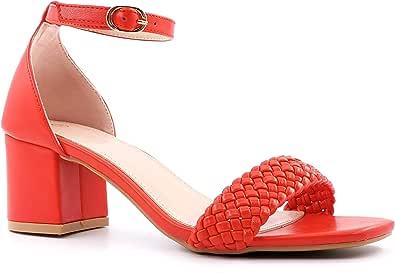 ANGKORLY - Scarpe Moda Decollete Sandali Elegante BCBG Tendenza Donna Tanga Fibbia Intrecciato Tacco Blocco 6 CM - Rosso 3 FB-163 T 36