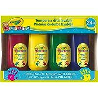 Crayola - Mini Kids - 4 BIDONS DE PEINTURE DOIGT - Coloriage pour enfant et tout petit - 256314.006