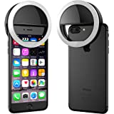 ELV 3 Modes Selfie Beauty Ring Light (Rechargeable) LED Flash White Light for iPhone, Android & iPad Series - Black