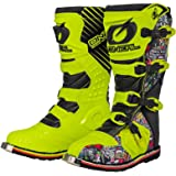 O'Neal Rider Boot Crank MX Cross Stiefel Neon Gelb Pin It Motorrad Enduro Motocross Offroad, 0329-0