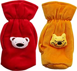 My Newborn Baby Feeding Bottle Covers with Attractive Cartoon- Combo Sets (RedBeige-Suede)