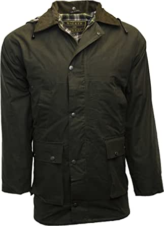 Walker & Hawkes - Mens Padded Wax Jacket Countrywear Hunting Waxed Coat - Brown