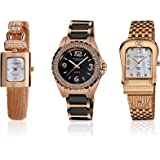 Akribos XXIV Women's AK600RG Diamond Accented Rose Tone 3-Watch Set