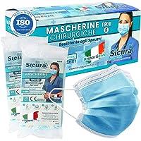 50 Mascherine CHIRURGICHE per Adulti Certificate CE Tipo IIR BFE ≥ 98% Prodotte in Italia - Mascherina Italiana monouso…