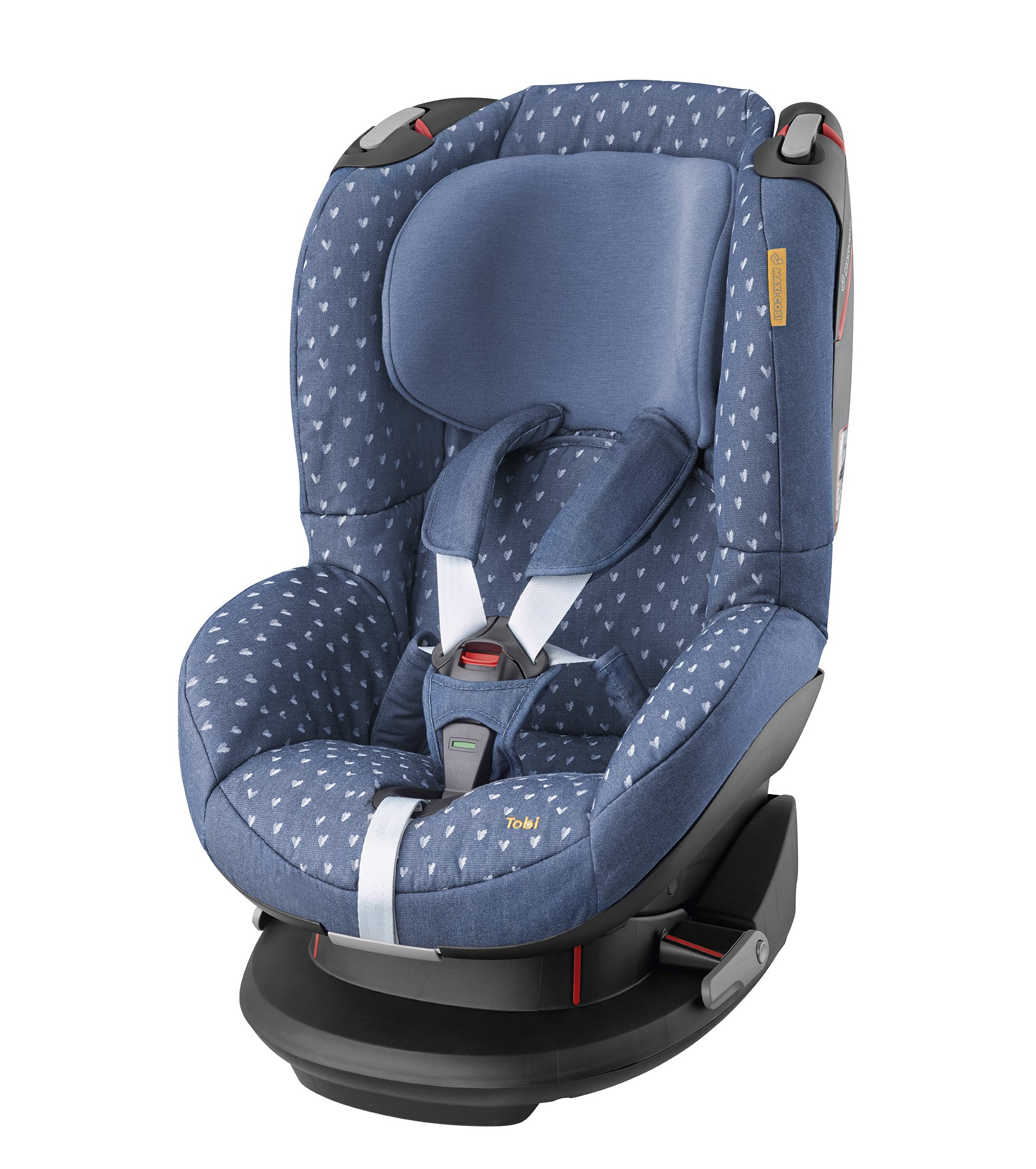 Maxi-Cosi Tobi Toddler Car Seat Group 1, Forward-Facing Reclining Car Seat, 9 Months-4 Years, 9-18 kg, Denim Hearts Maxi-Cosi Forward facing, suitable for toddler of weight 9-18 kg Easy to install with a three-point safety belt Intuitive and easy to read belt routing 1