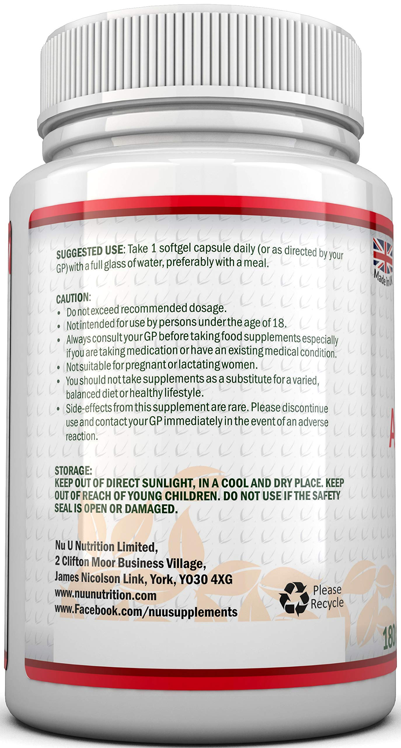 Astaxanthin 5% Oil 12mg   180 Softgels (6 Month Supply)   Astaxanthin from Nu U Nutrition