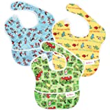 Bumkins Dr Seuss SuperBib, Baby Bib, Waterproof, Washable, Stain and Odor Resistant, 6-24 Months (Pack of 3) - Green Eggs, Ye