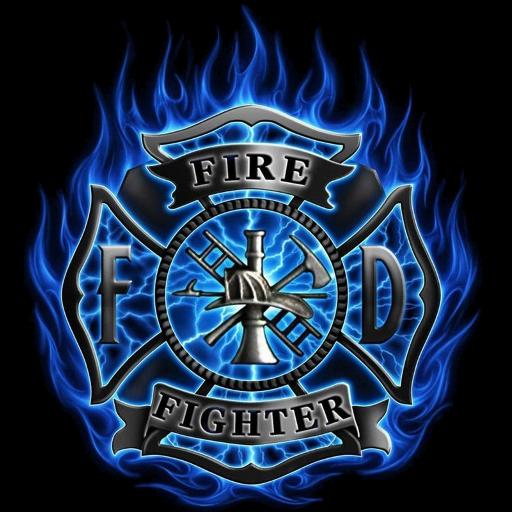 Firefighter Blue Flame Clock Widget