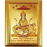 Suninow Gold Plated Photo Frame of Saraswati ji