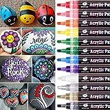 WONSAR acrylstiften voor stenen, 12 kleuren, watervaste acrylstiften voor het schilderen van stenen, permanente markeerstifte