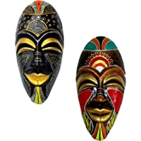 New Life Terracotta Wall Hanging African Jumbo Mask Combo for Room Decor and Gifts (Multicolour, 40.5 cms) - Pack of 2 pcs